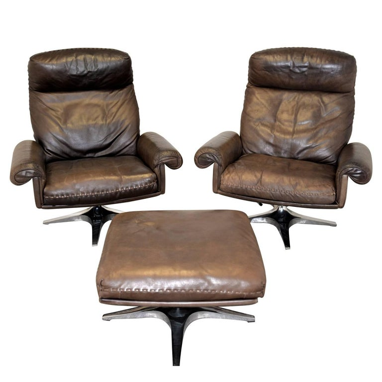 Vintage De Sede DS 31 Highback Swivel Lounge Armchairs with Ottoman 1970s