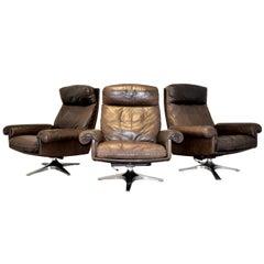 Vintage De Sede DS 31 High Back Swivel Lounge Armchairs, 1970s