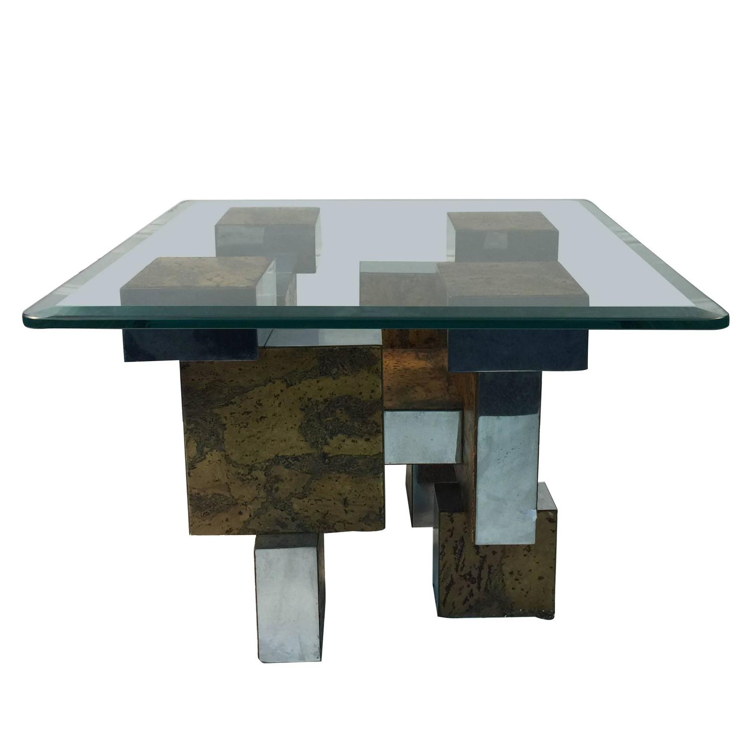 Brutalist Paul Evans Cityscape Burl Wood And Chrome Coffee Or Cocktail Table For Sale At 1stdibs