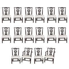 Set of Sixteen George III Style Mahogany Dining Chairs