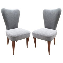 Pair of French Art Deco Side Chairs in Mohair