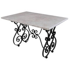 French 19th Century Iron Table with Marble Top