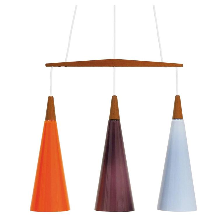 Colorful Glass and Teak Chandelier by Holmegaard,  1960s