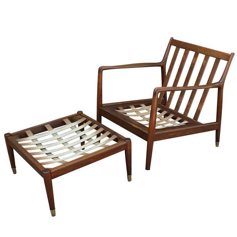 Folke Ohlsson for DUX Modern Walnut Lounge Chair and Ottoman