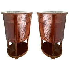 Superb Pair of Swedish Oval Bedsides French Polished with Marquetry Inlays