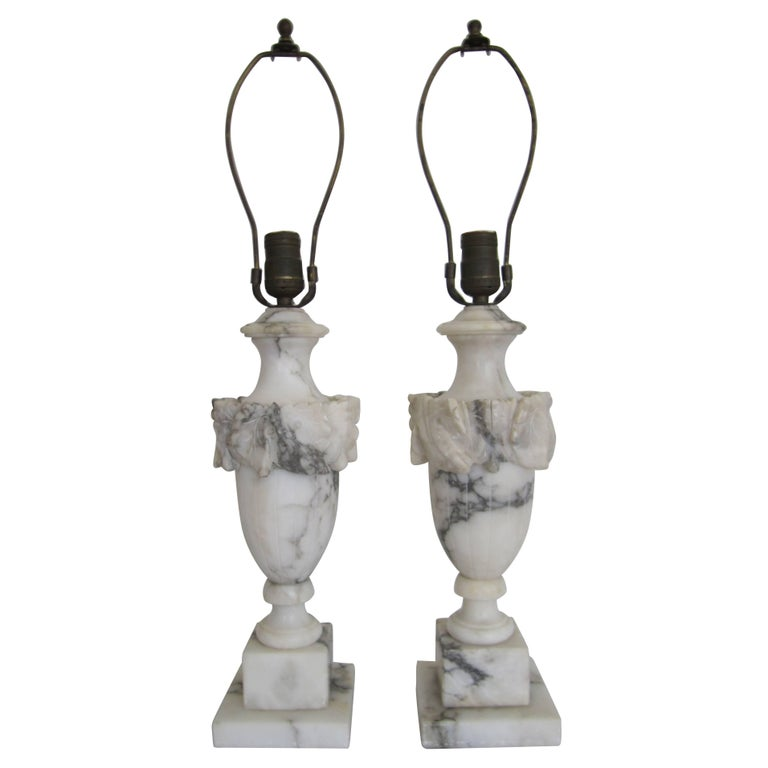 Italian Neoclassical Solid Black And White Marble Urn Table Lamps