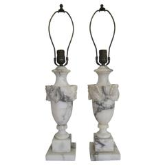 Italian Neoclassical Solid White and Black Marble Urn Table Lamps