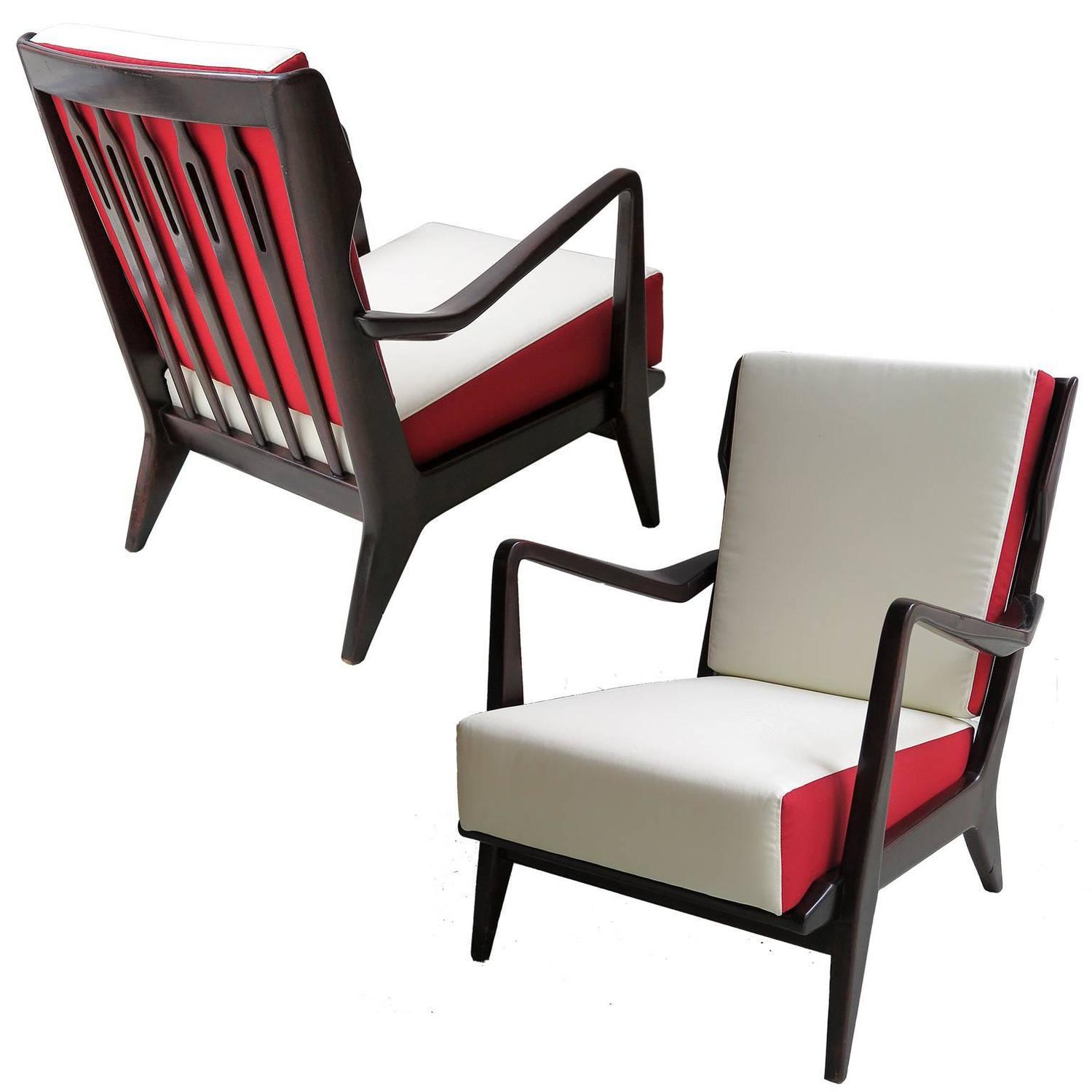 Gio Ponti Pair of Armchairs Model 516 at 1stdibs