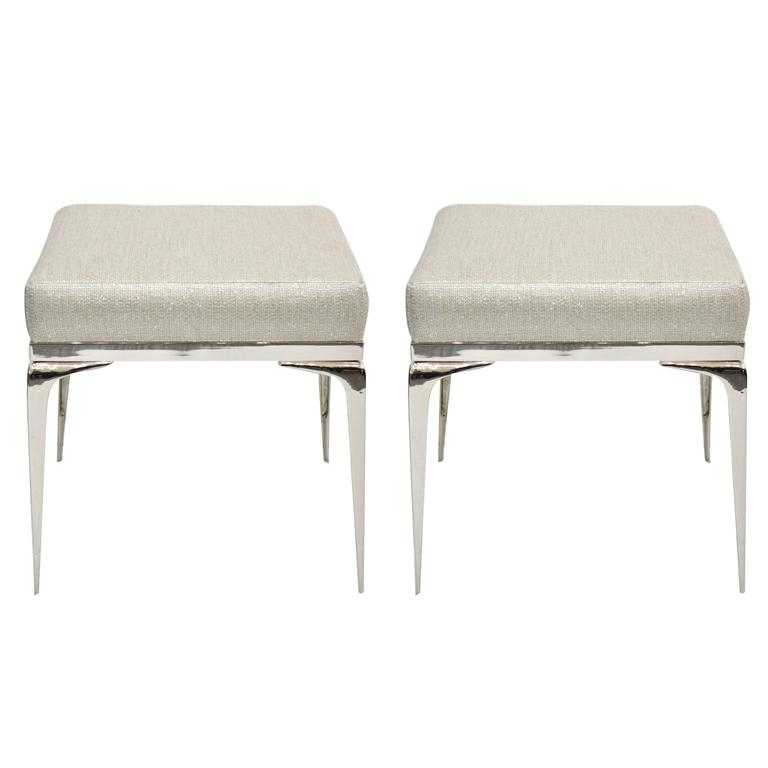 Pair of Nickel Banded Stiletto Ottomans
