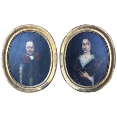 Pair of Vintage Framed Portraits, c. 19th Century