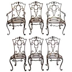 Jean-Charles Moreux Rare Set of Six Gilded Wrought Iron Chairs