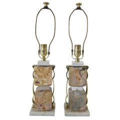 Pair of Stacked Marble Block Table Lamps