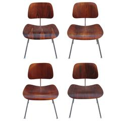 Four Rare Brazilian Rosewood Herman Miller Eames DCM Dining Chairs