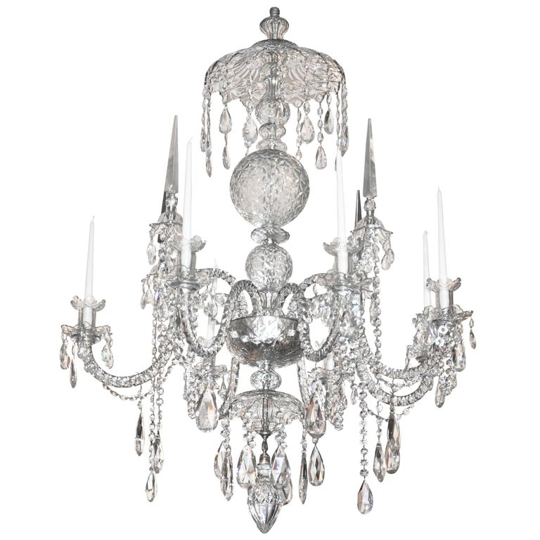 Georgian Chandelier: Large Irish Georgian Crystal Chandelier At 1stdibs