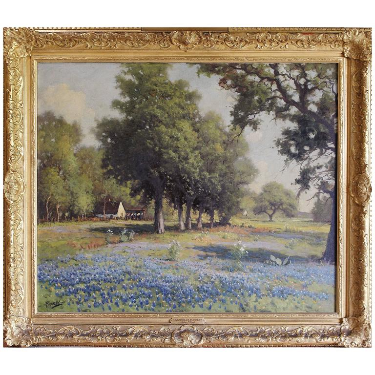 Robert Wood Texas Bluebonnets Oil Painting Circa 1930 At 1stdibs