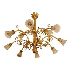 Twelve-Arm Gilt Bronze Chandelier