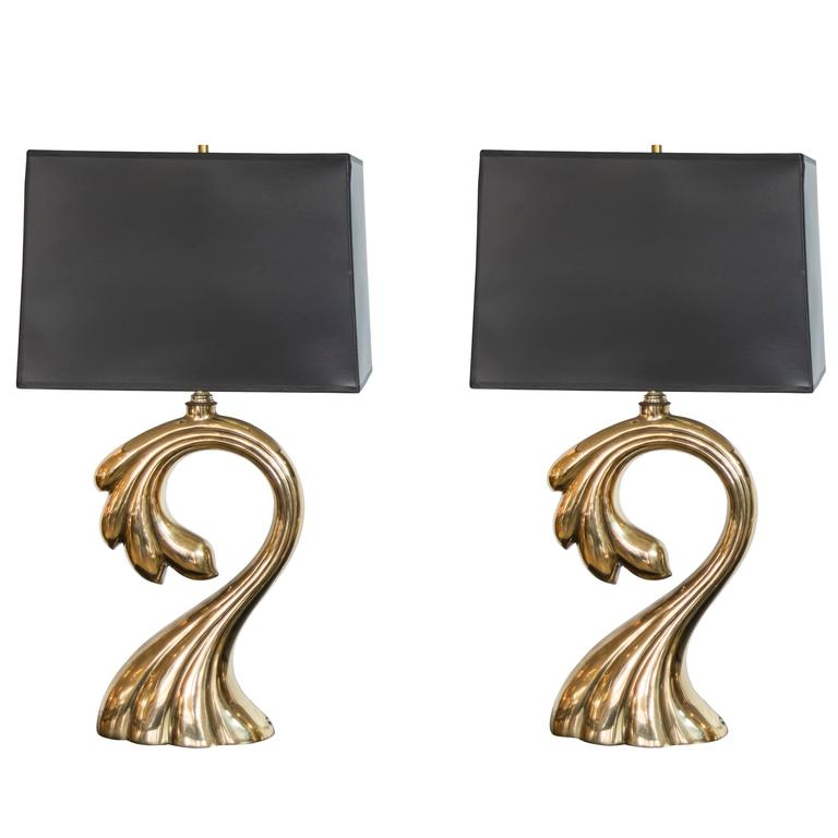 Mid-Century Pierre Cardin Signature Brass Table Lamps
