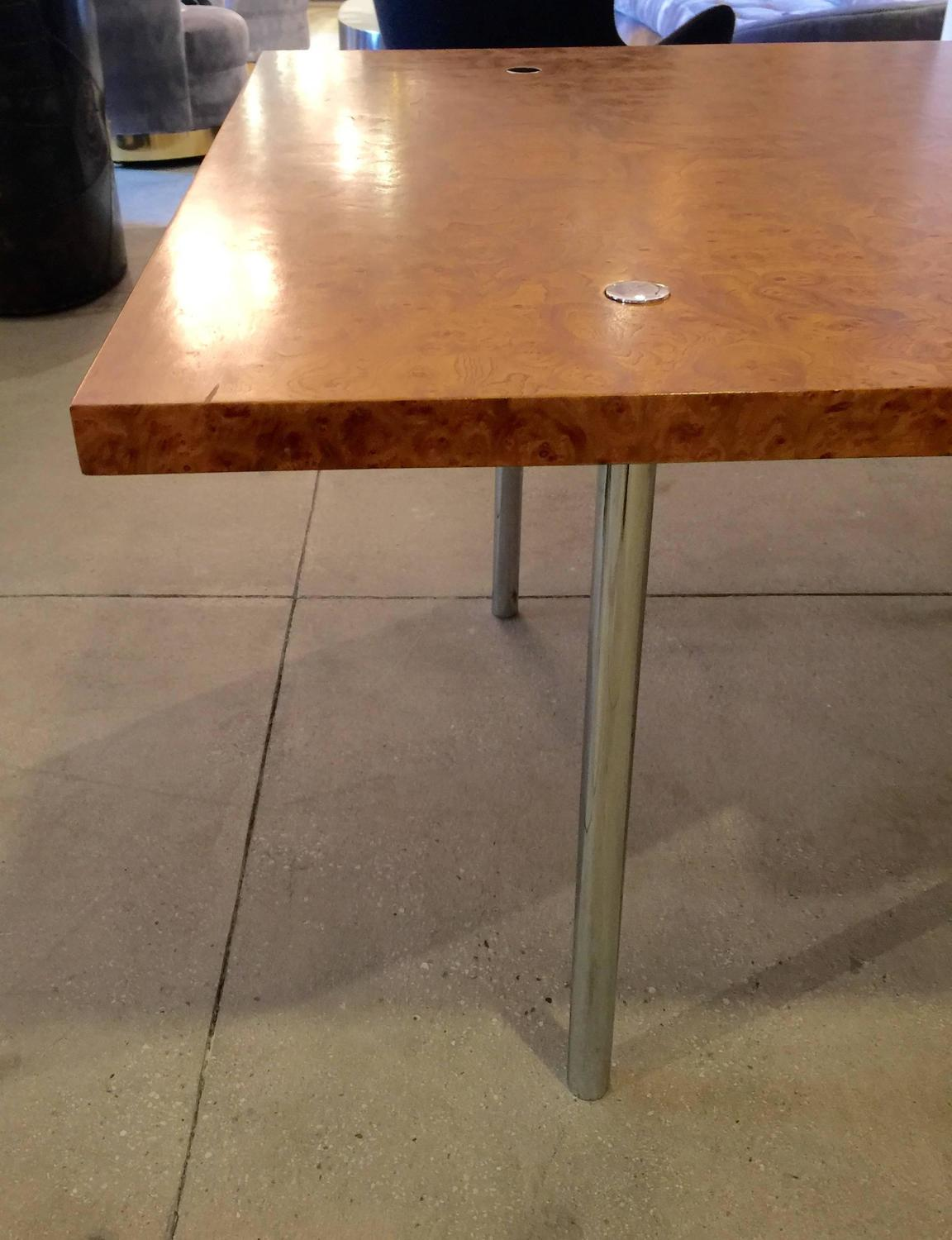 Minimalist burl and chrome dining table by laverne for sale at 1stdibs - Dining tables for small spaces sale minimalist ...