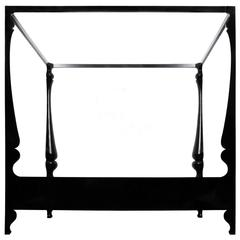 Contemporary Louis Baroque Inspired Four-Poster Lacquered Queen or King Bed