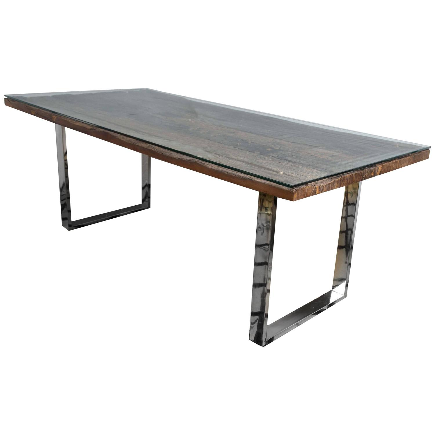 Rustic modern chrome and reclaimed barn wood fabulous for Modern wood dining room table