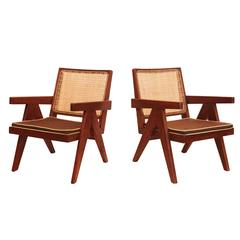 Pair of Pierre Jeanneret & Le Corbusier Easy Chairs, India / France, 1955