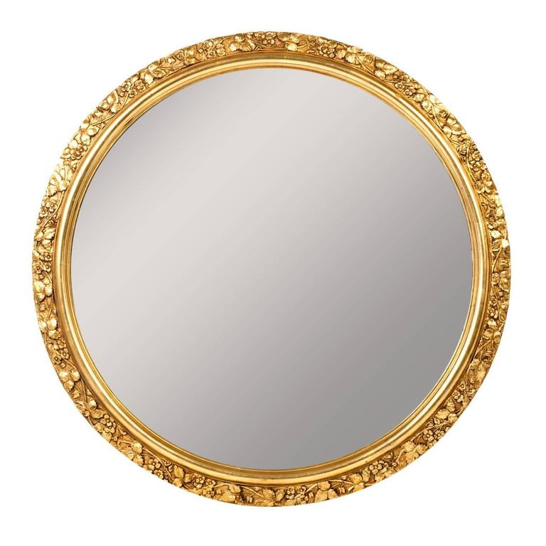 Vintage Round Wooden Frame Gilded Wall Mirror At 1stdibs
