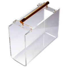 1970s Karl Springer / Charles Hollis Jones Style Lucite and Gold Magazine Rack