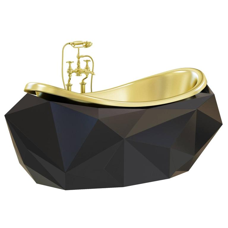 Modern European Freestanding Diamond Bathtub Gold Tap
