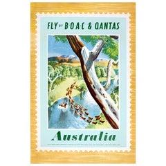Original Vintage Travel Poster Fly BOAC & Qantas Australia Postage Stamp Design