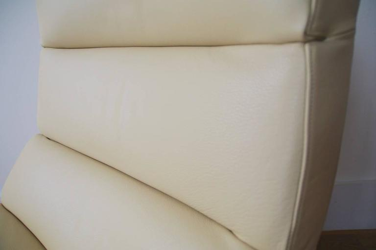 Modern Italian Lounge Chair Completely Upholstered With Soft Luxury Quality  Cream Color Full Grain Leather.