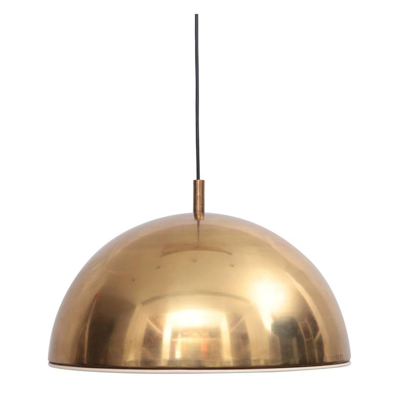 Huge Brass Pendant Lamp from 1960s Italy with White Enamel Inner