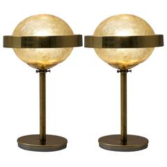Set of Two Table Lamps in Brass and Glass