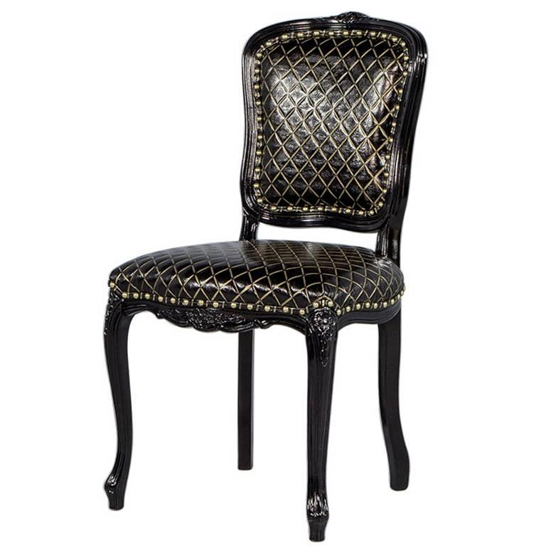 monark accent chair in embossed black with gold leather for sale at 1stdibs. Black Bedroom Furniture Sets. Home Design Ideas