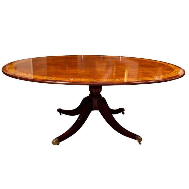 Custom English Dining Table with Hand-Painted Band