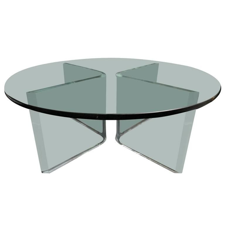 Glass Coffee Table On Bent Lucite Base For Sale At 1stdibs