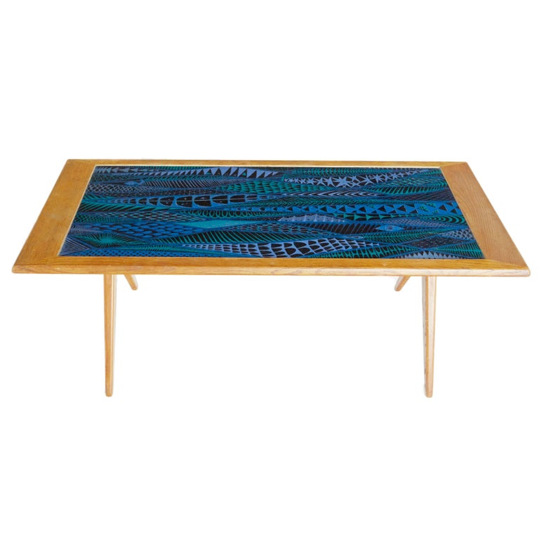 Stig Lindberg and David Rosen for Nordiska Kompaniet Enamel Coffee Table, 1955 For Sale