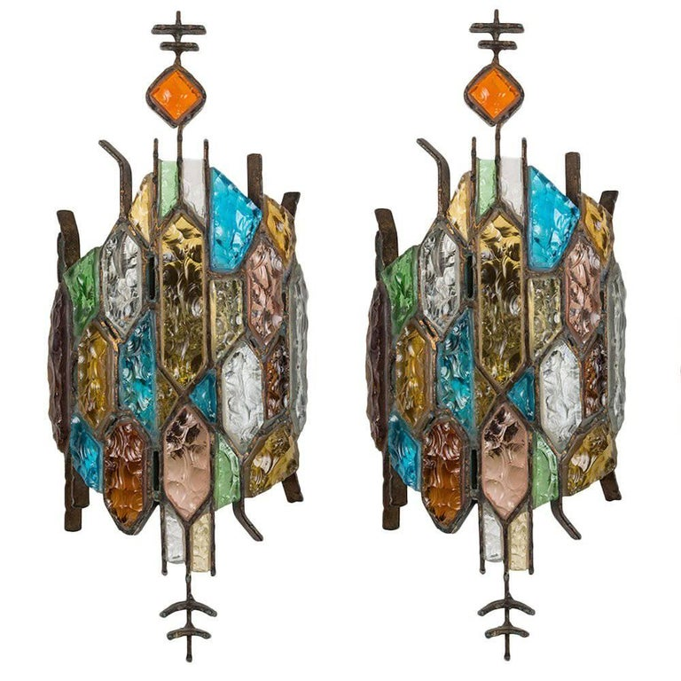 Two Stained Glass Sconces by Longobard 1