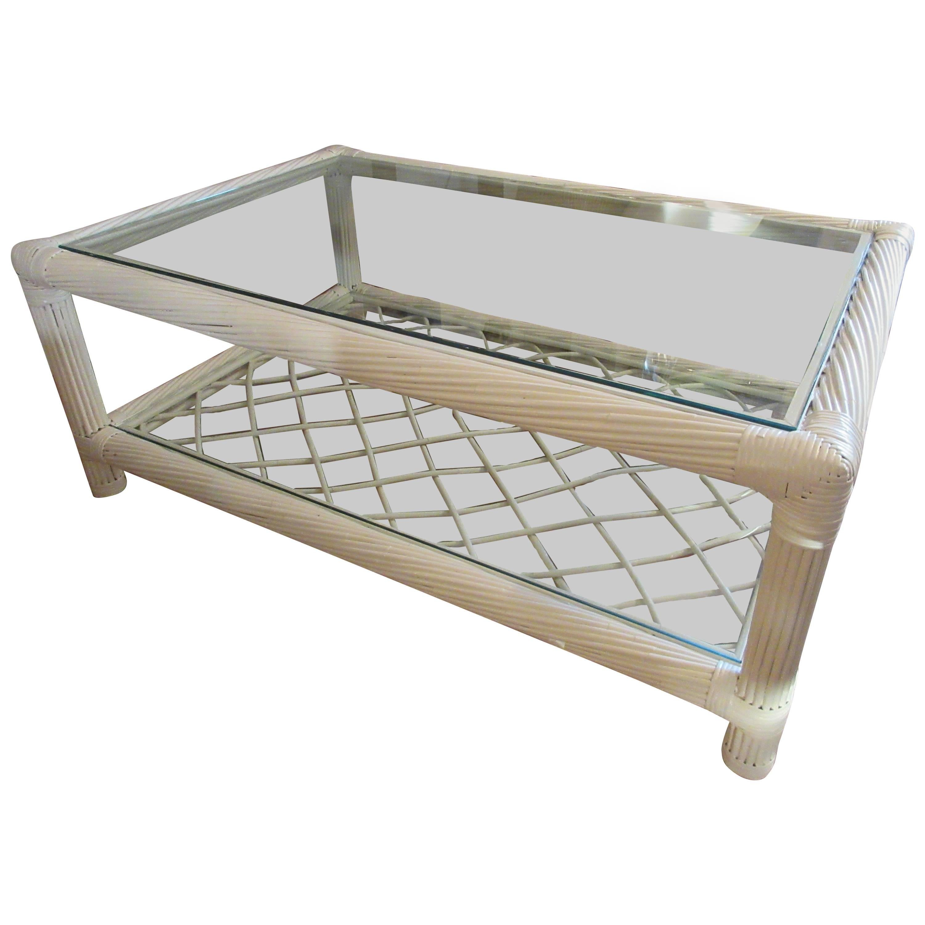 Ficks Reed Mid-Century Bamboo and Glass Coffee Table