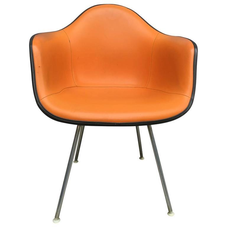 Orange Leather Armchair Rare Herman Miller