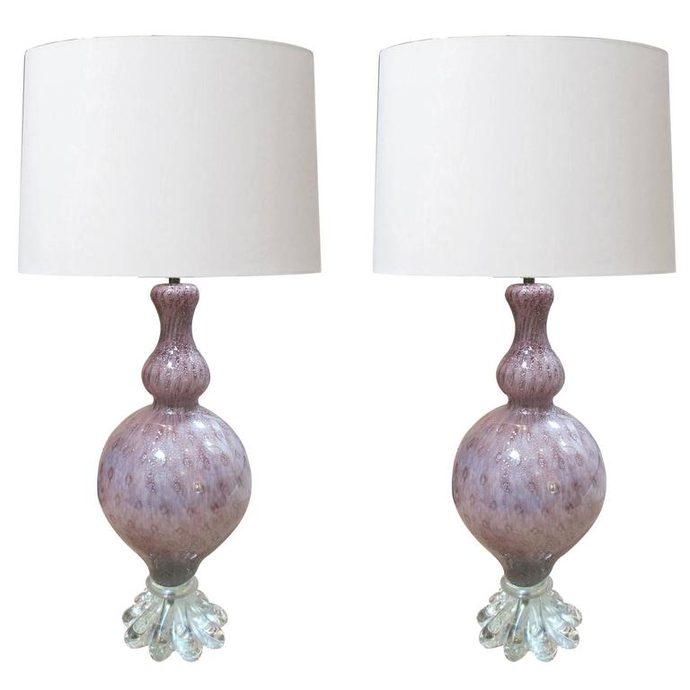 A Large Pair of Murano Archimede Seguso Amethyst  Lamps with Silver Inclusions