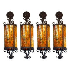 Mid-century Gothic-Style Cathedral Pendants in Red, Orange and Yellow