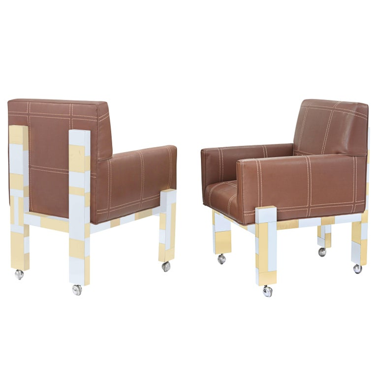 Pair of Armchairs in Tesselated Brass and Chrome by Paul Evans For Sale