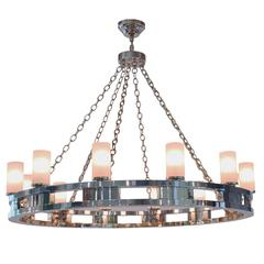 4' Oversized Chrome Twelve-Light Chandelier