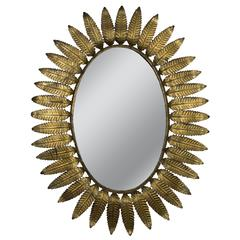 Large Oval Gilt Sunburst Mirror
