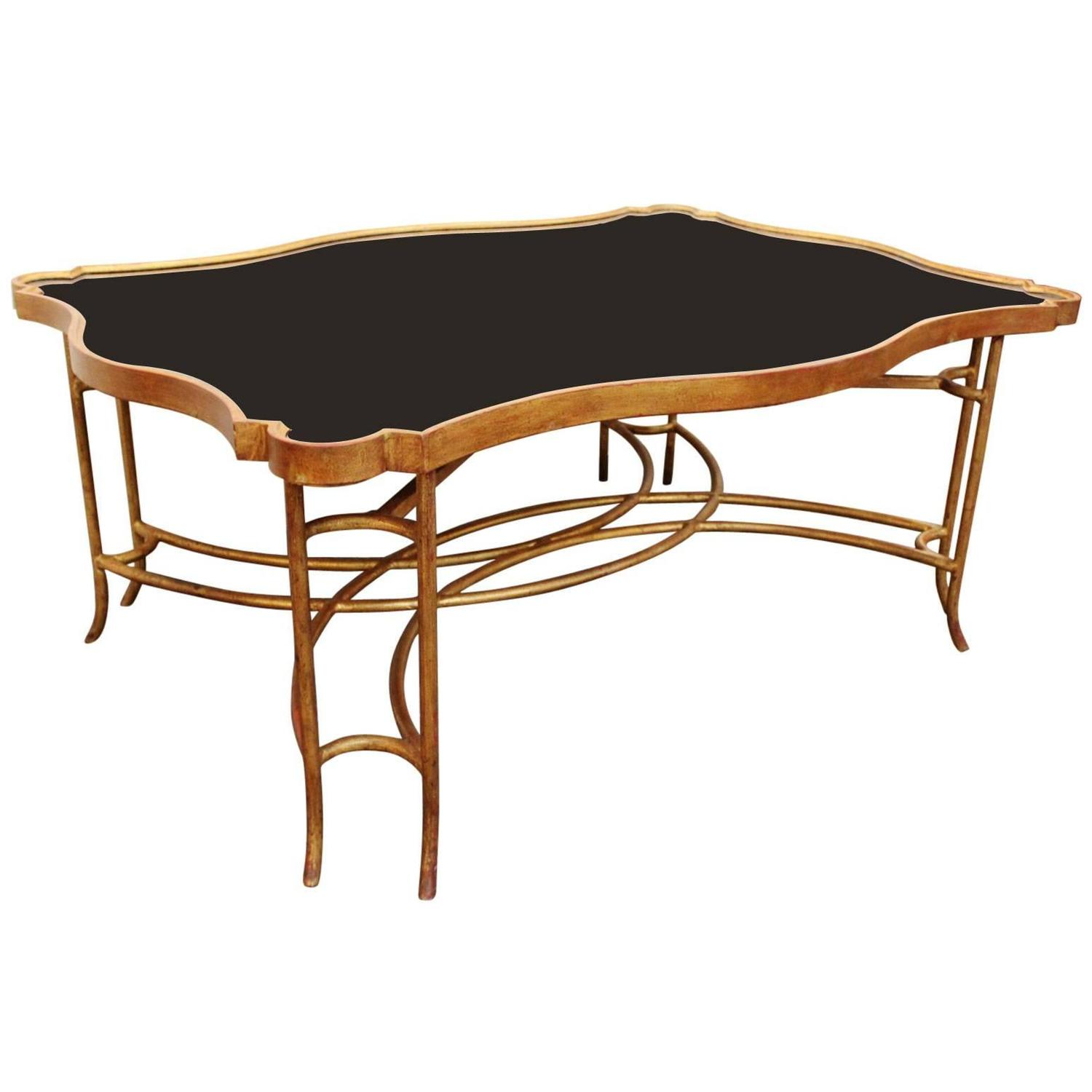 Gilt Iron Coffee Table With Polished Black Granite Top At 1stdibs