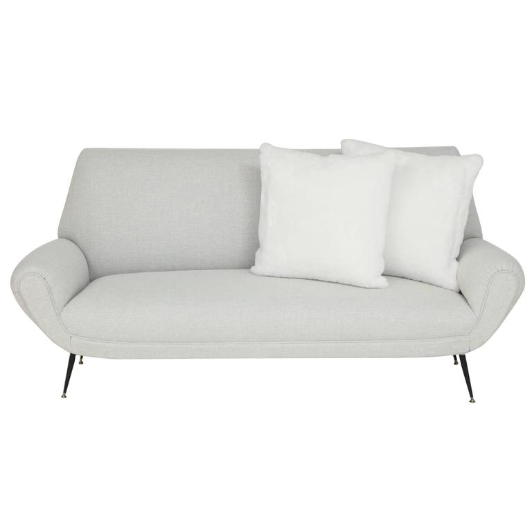 Mid Century Italian Sofa with Shearling Pillows, circa 1950s For Sale at 1stdibs