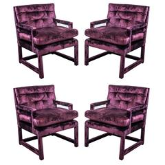 Set of Four Milo Baughman Parsons Chairs in Luxurious Garnet Velvet