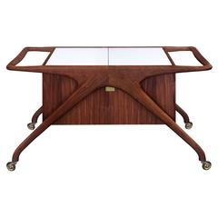 Iconic Serving Cart in Walnut by Vladimir Kagan
