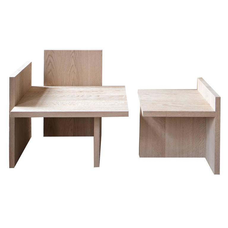 Shelf Armchair and Table Set in Natural Oak For Sale
