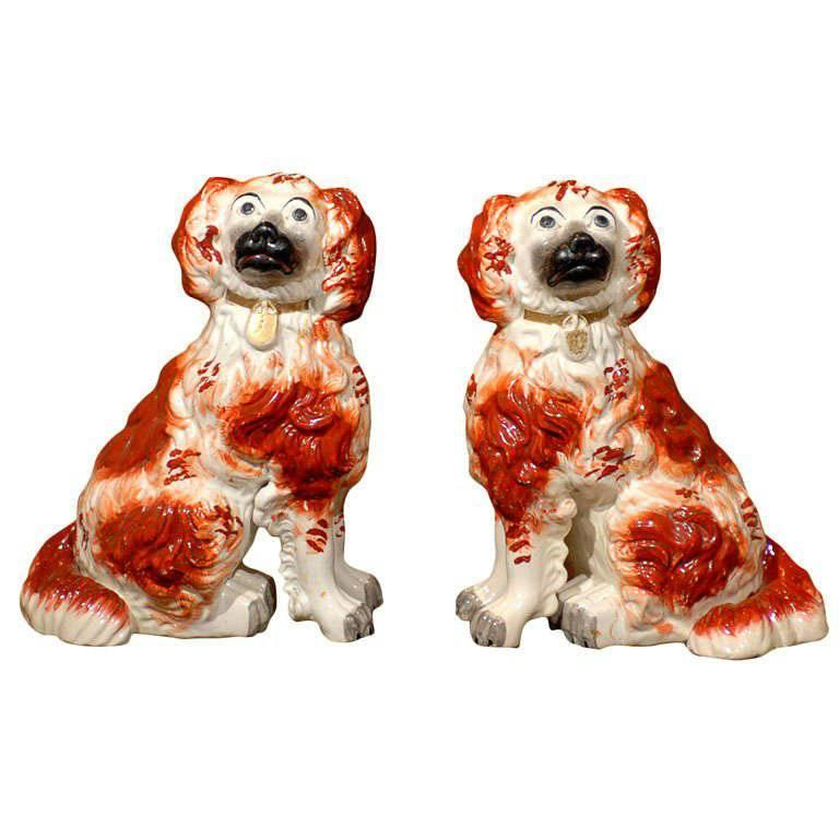 Very Rare Large Pair of English Staffordshire Dogs from the Victorian Era